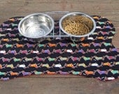 Dog Feeding Dish Placemat Dachshunds in Sweaters