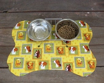 Bone Shape Dog Placemat Golden Retriever Beagle