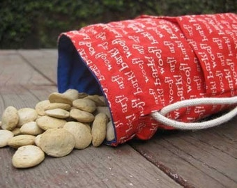 Dog Bag Treat Pouch Red Blue