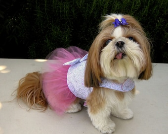 Dog Dress Hearts Pink Silver Tutu Wedding
