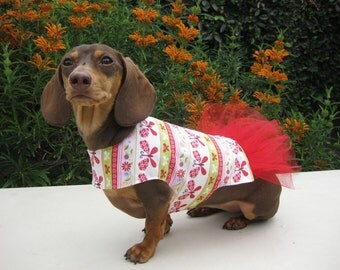 Dog Tutu Dress Butterflies Red