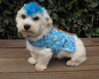 Dog Clothes Vest Blue Bone Camo