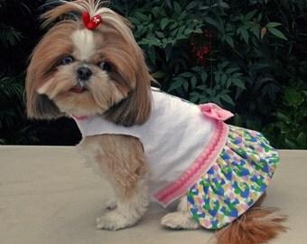 Dog Dress Harness Pastel Pink Bow Hearts