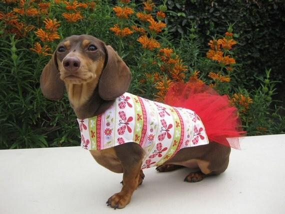 Dog Tutu Dress Butterflies Red