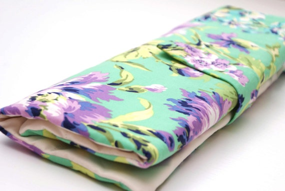 Knitting Needle Organizer, Green Purple Floral
