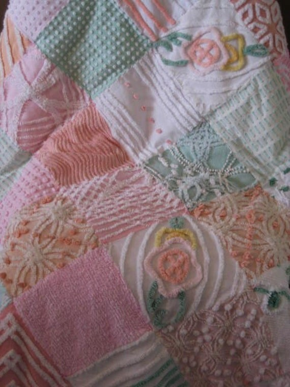 Vintage Chenille Patchwork Throw/Quilt - 41 X 50 Inches