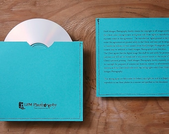 Custom CD sleeve/holder for digital photography business ANY COLORS {pack of 25}