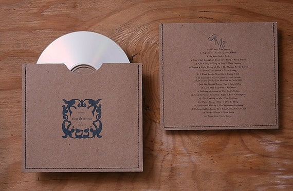 Personalized cd sleeve wedding favor ANY COLOR {pack of 75}