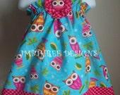 Aqua Owls Halter Top\/Dress Toddler Infant Sundress size 6m-9m, 9m-12m,18-24mos.,2t,3t,4t,5t