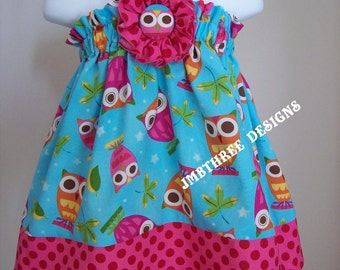Aqua Owls Halter Top/Dress Toddler Infant Sundress size 6m-9m, 9m-12m, 12-18m,18-24mos.,2t, or 3t