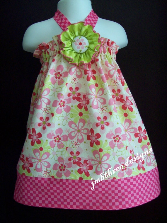 New Pink Posies Halter Top/Dress in your choice of size 6m-9m, 9m-12m, 12-18m,18-24mos.,2t, or 3t