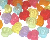 25 Beautiful Rose Button Beads  15mm x 14mm  Mixed Shades