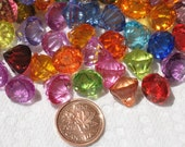 20 Faceted Diamond Drops Beads Pendants Mixed Acrylic 12mm