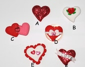 1 Polymer Clay Valentine Sparkle Design Heart Bead or Bow Center- Made to Order