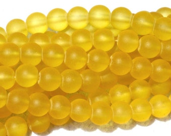 8mm Frosted Glass Round Beads Yellow Golden Lemon 20