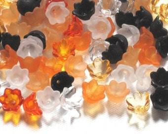 60 Tulip Bell Acrylic Flower Beads - Trick or Treat - 10mm
