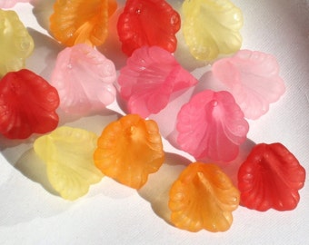 16mm Acrylic Flower Beads Ruffled Calla Lily Beads, Charms Sweet n Sour