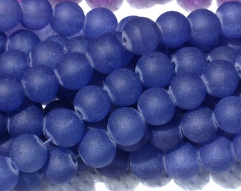 8mm Frosted Glass Round Beads Navy Blue 20
