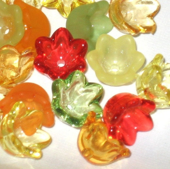60 Mixed Acrylic Tulip Bell Flower Beads Citrus Sparkle 10mm