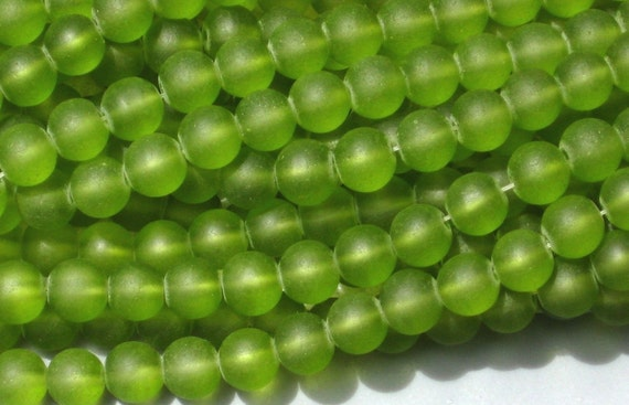 8mm Frosted Glass Round Beads Dark Lime Green 20