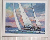 Oversized Miniature Sailing Picture on Canvas Hand Framed in White 1/12 Scale