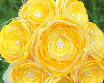 Wedding Bouquet BRIGHT YELLOW satin, tulle, and beads bouquet