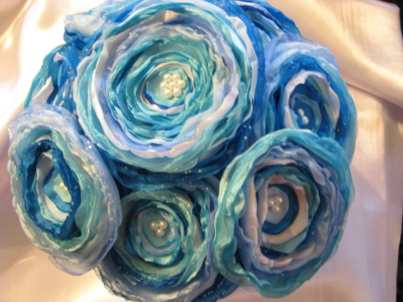 Jillianns AQUA and TURQUOISE satin and tulle BOUQUET