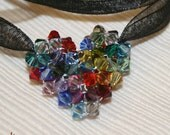 Rainbow Heart - Pendant with Swarovski Crystal in 50 different colors