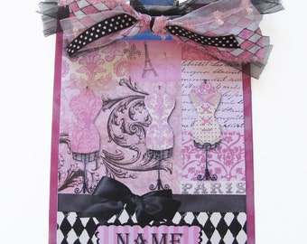 Ooh La La Fasionista Pink and Black Parisian Themed Personalized Clipboard