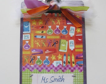 Teacher Gift Personalized Clipboard Green Purple Orange