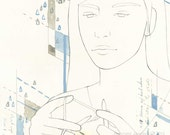 Knitter fine art print: Confine - archival reproduction print of woman knitting in blue, taupe, and white