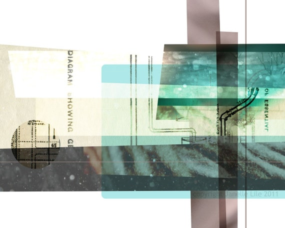Abstract fine art digital collage: Distant 2 - archival print of aqua, beige, and mauve transparent layered digital collage
