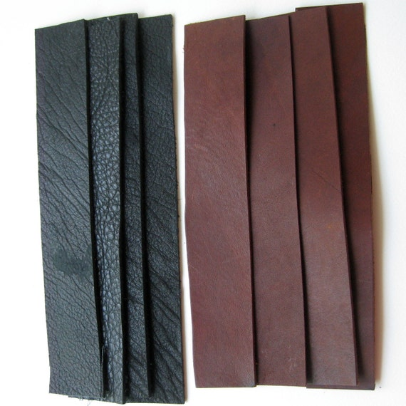"""Reserved for Jennifer 21 Brown leather strips 1.5"""" by 8.5, 8"""" and 7.5"""""""