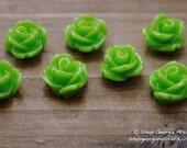 Parade Rose Flower Cabochon Green Apple 10pcs