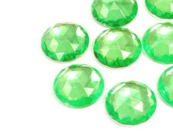 Jewel Cabochon Round Green 13mm