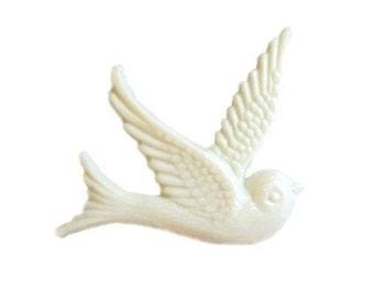 Bird Cabochon Ivory Cream Vintage Dove Style 4pcs