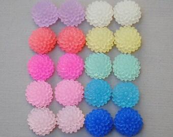 Mini Mum Flower Cabochon Frost Mix Colors 20pcs