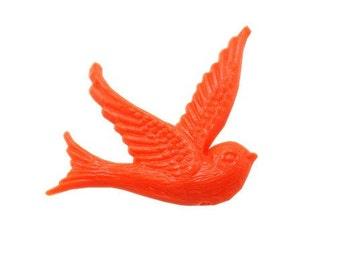 Bird Cabochon Orange Vintage Dove Style 4pcs