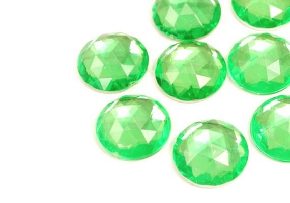 Jewel Cabochon Round Green 13mm
