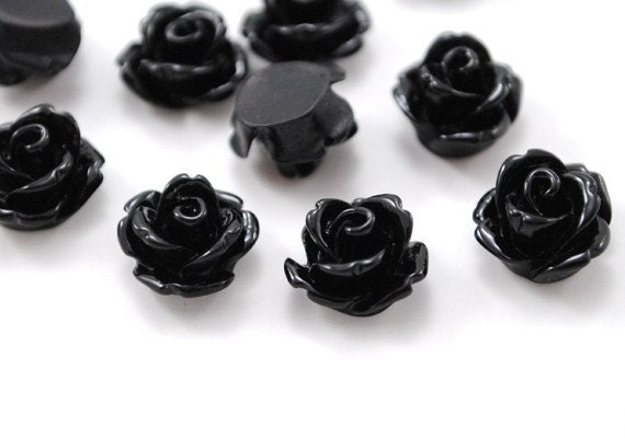 Parade Rose Flower Cabochon Black 10pcs