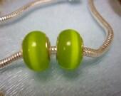 Lime Green Cats' Eye Pandora style Bead