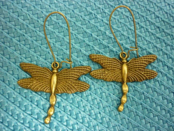 Dragonfly Earrings ornate Antique Bronze