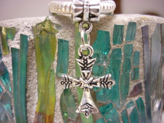 Ornate Cross Silver Dangle Charm Pandora style