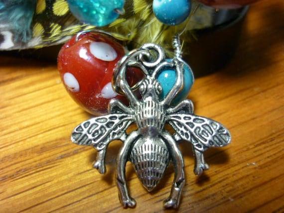 Queen Bee Silver Pendant Charm