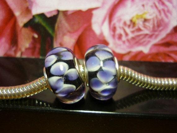 Lampwork art glass Floral Pandora style Bead