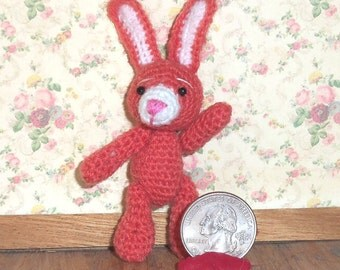 Apricot Easter Bunny Rabbit  Miniature Thread Artist Crochet   Ready to Ship