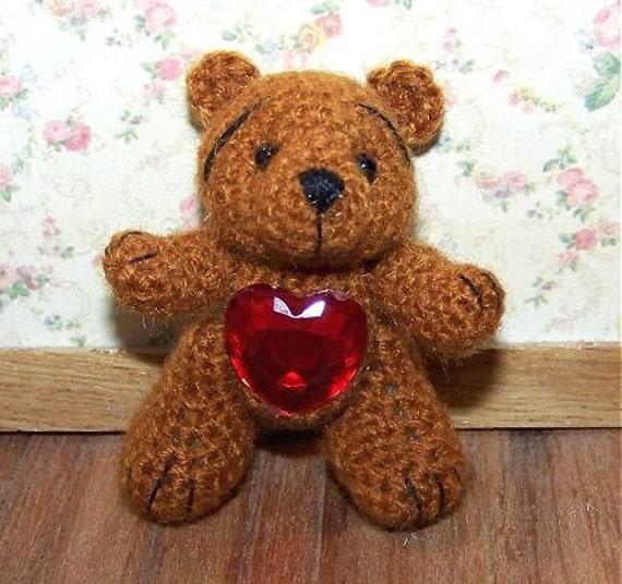 Valentine Teddy Bear Miniature Heart Thread Artist Crochet Ready to Ship