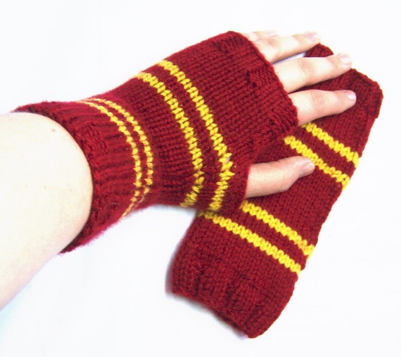 SALE 24% Off 4th of July RED and YELLOW - Striped Fingerless Mitts - Size Medium