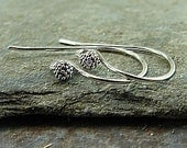 Organic - Granulated Ball End Sterling Silver French Hook Earwires - One Pair - ewfhgb