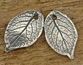 Natural Rose Leaf - Rustic Artisan Sterling Silver Charms - One Pair - LF2